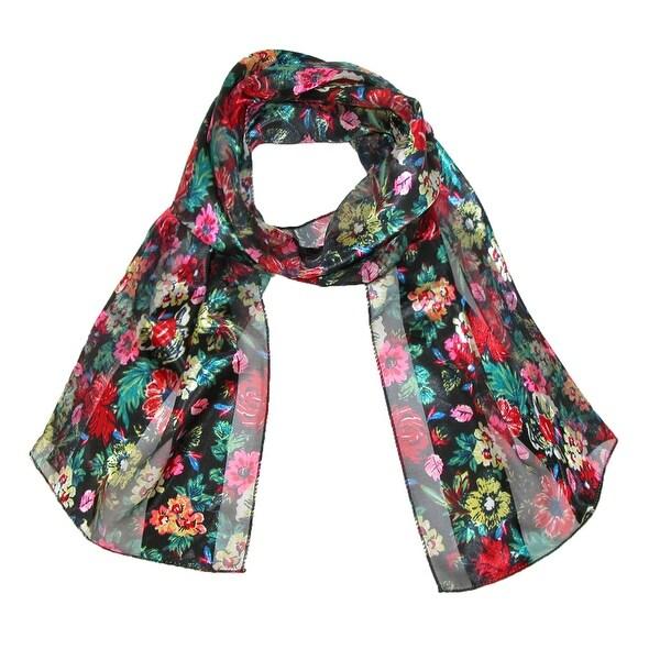 CTM® Women's Long Satin Wild Flower Print Scarf - One size