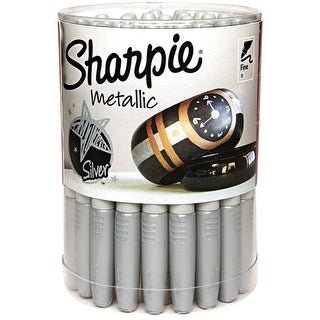Sharpie Metallic Permanent Markers, Fine Tip, Silver, Pack of 36