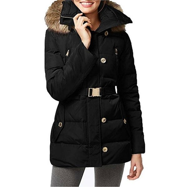 MICHAEL KORS Womans Black Hooded Belted Quilted Puffer Down Coat. Opens flyout.