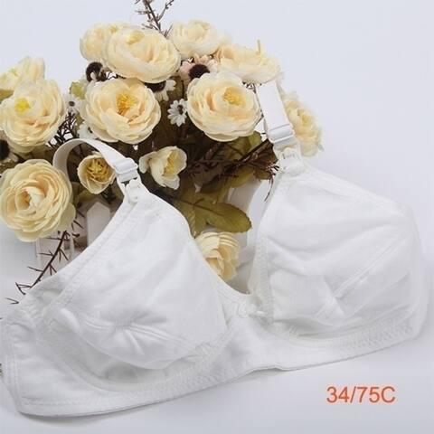 Women Nursing Maternity Breastfeeding Wireless Unlined Bra Cotton 34/36/38/40/42