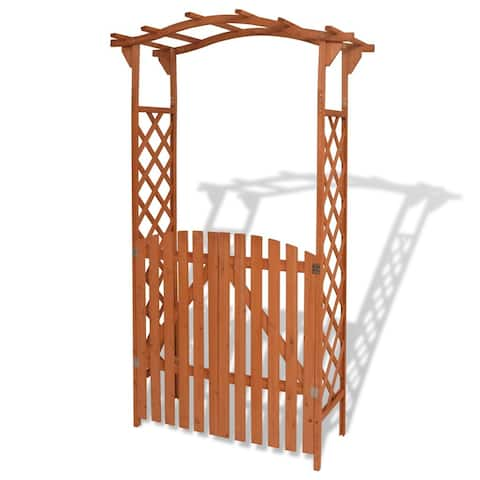 vidaXL Solid Wood Garden Arch w/ Gate Outdoor Arbor Plant Climbing Support
