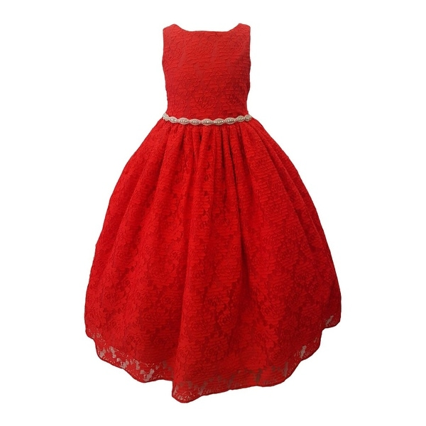 Shop Girls Red Rhinestone Belt Lace Overlay Special Occasion Dress - Free  Shipping Today - Overstock.com - 18171372 c5f2e3b00360