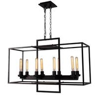 Industrial Rectangular Bronze Cube Island 8-Light Chandelier
