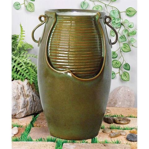 Design Toscano Ceramic Rippling Jar Garden Fountain
