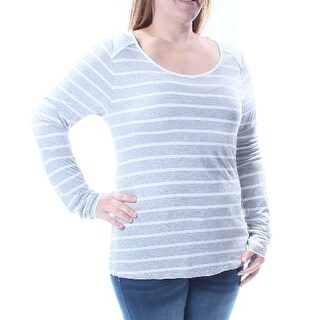 Womens Gray Striped Long Sleeve Scoop Neck Top Size 2X