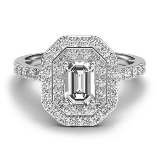 14K White Gold 1.13 CT Double Halo Emerald Cut Diamond Engagement Ring