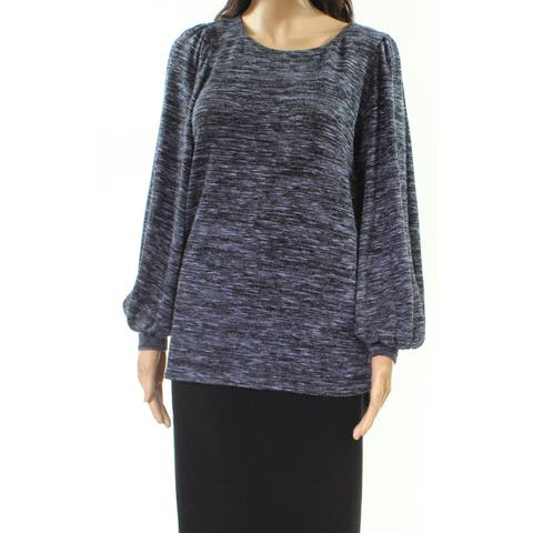 Max Studio Women's Blue Size Large L Space Dye Puff Sleeve Knit Top
