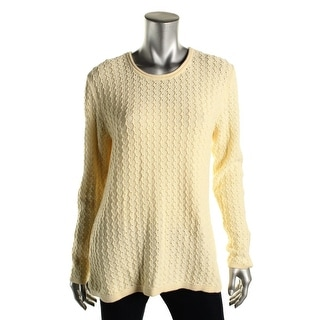 Karen Scott Womens Cable Knit Long Sleeves Pullover Sweater - L