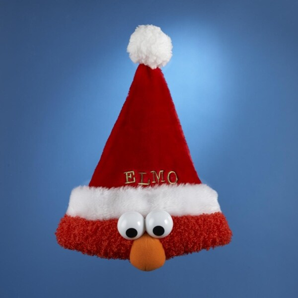 "13"" Sesame Street Plush Red Elmo Christmas Santa Claus Hat"