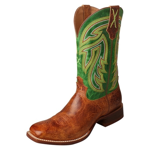 Twisted X Western Boots Men Rancher Gold Buckle Pull On Cognac