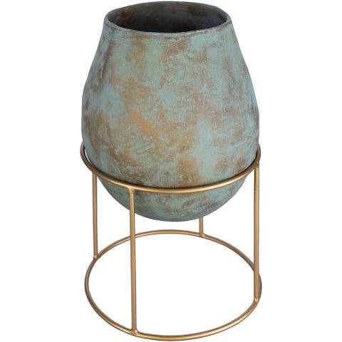 Mellie Raised Metal & Glass Vase