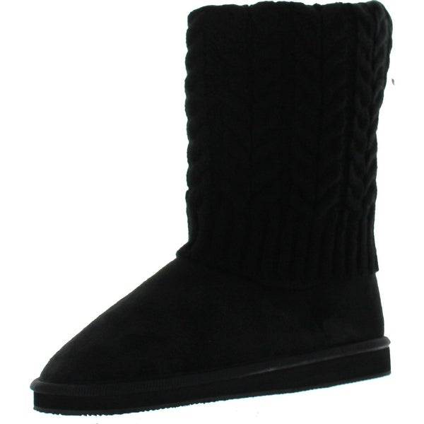Star Bay Women's Rib Knit Sweater Boot - Black