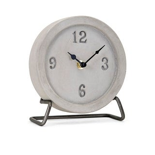 """7"""" Gray and Black Rustic Finish Decorative Desk Clock with Framework Stand"""