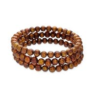 Honora Set of 3 7-8mm Chocolate Ringed Freshwater Pearl Bracelets