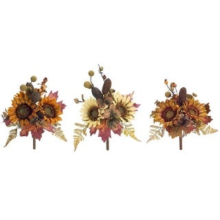 Pack of 6 Orange and Brown Sunflower and Berry Bouquets 12""