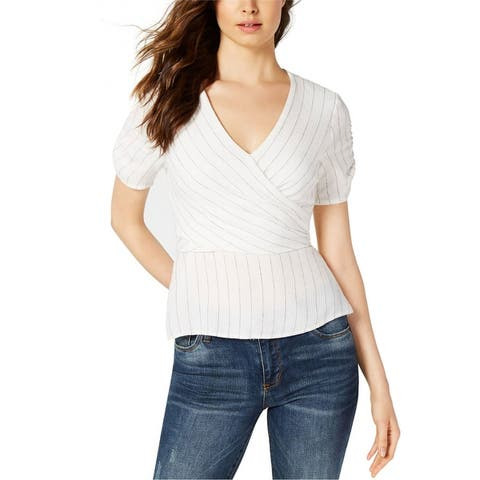 1.State Womens Ticking Wrap Blouse