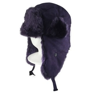 CapRobot Fashion Trooper Aviator Bomber Suede Hat - Purple
