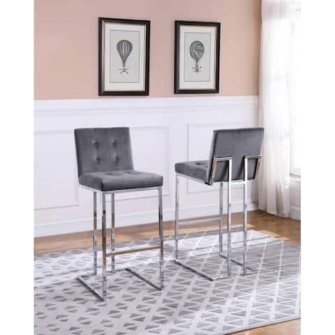 Best Quality Furniture 30-inch Button Tufted Velvet Barstools - Set of 2