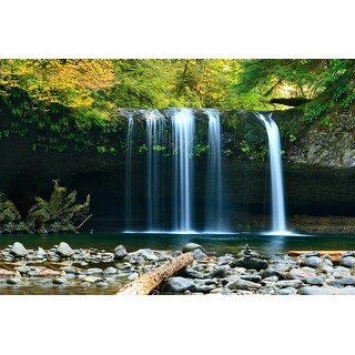 Waterfall In Forest Photograph Wall Art Canvas (4 options available)