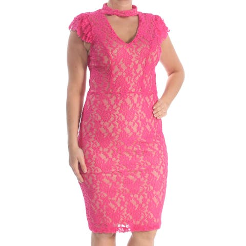 XOXO Womens Pink Lace Ruffled Cap Sleeve Keyhole Knee Length Body Con Cocktail Dress Juniors Size: L