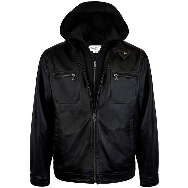Mens Hooded Racing Leather Jacket