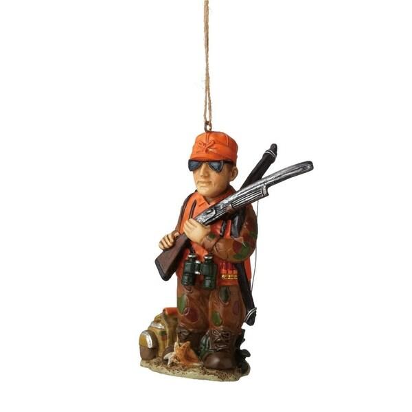 "3.75"" Camouflaged Man Hunter Decorative Christmas Ornament - ORANGE"