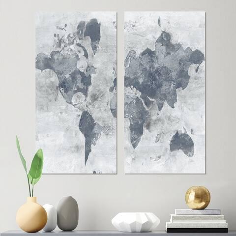 Designart 'Golden Grey World Neutral' Traditional Canvas Wall Art Print 2 Piece Set