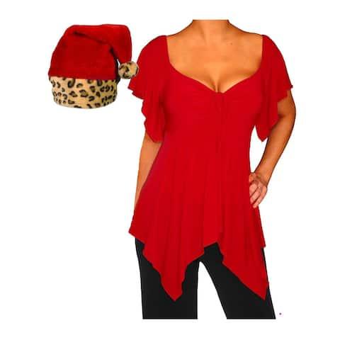 Funfash Plus Size Women Red Holiday Christmas Leopard Santa Hat Shirt