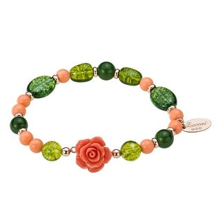 Zoccai 925 Pink Coral & Green Quartz Bracelet in Rose Gold-Toned Sterling Silver - Multi-Color