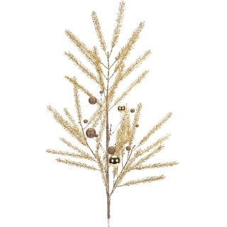 """Club Pack of 12 Decorative Artificial Gold Glittered Pine Christmas Sprays with Ball Ornaments 33"""""""