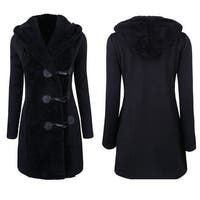 Women Fashion Winter Plus Thick Warm Buttons Coat Overcoat Parka Hoodie Outwear