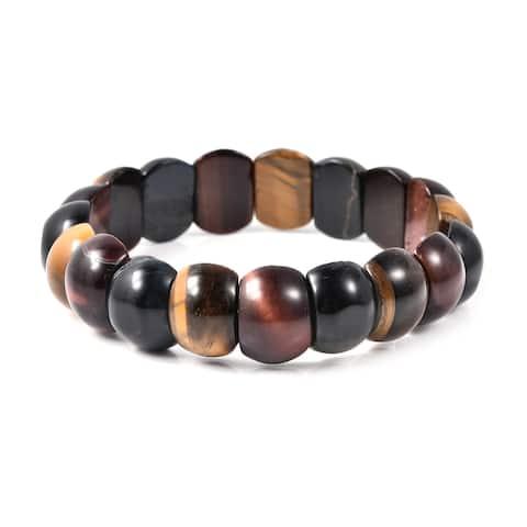 Shop LC Tiger Eye Beads Stretchable Strand Bracelet Cttw 156.5 - Stretch