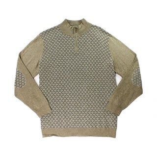 Tasso Elba NEW Brown Mens Size XL 1/2 Zip Printed Elbow-Patch Sweater