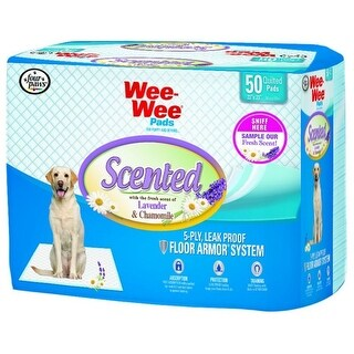 """Four Paws Wee-Wee Pads - Lavender & Chamomille Scented 50 Pack (22"""" x 23"""" Pads)"""