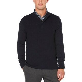 Perry Ellis Mens Pullover Sweater 1/4 Zipper Funnel Neck