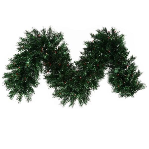 "9' x 16"" Pre-lit Midnight Green Pine Christmas Tinsel Garland - Red Dura Lights"