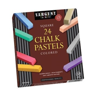 Sargent Art Non-Toxic Square Chalk Pastel Set in Tray, 3/4 X 2-1/2 in, Assorted Color, Set of 48