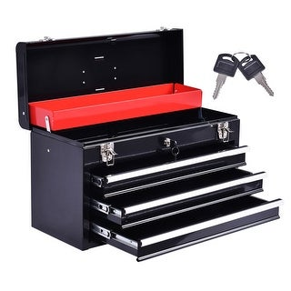 Costway Portable Tool Chest Box Storage Cabinet Garage Mechanic Organizer 3 Drawers