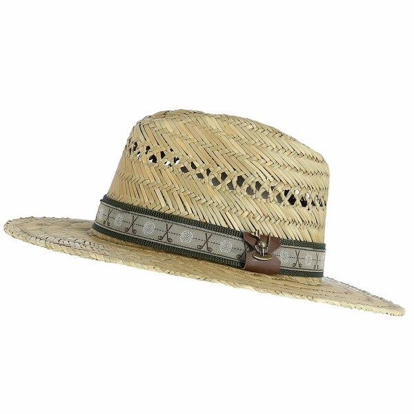 cc80c36f60f Shop Scala Classico Men s Rush Straw Safari Hat with Golf Club Pin ...