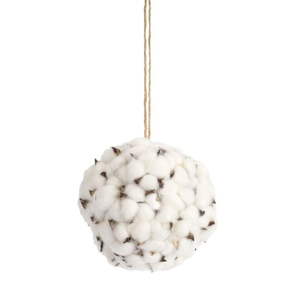 """Pack of 6 Fascinating and Unique White and Brown Cotton Orb Ornaments 6""""D"""