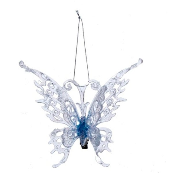 """5.5"""" Frosted Kingdom Blue Butterfly with Clip Decorative Christmas Ornament"""
