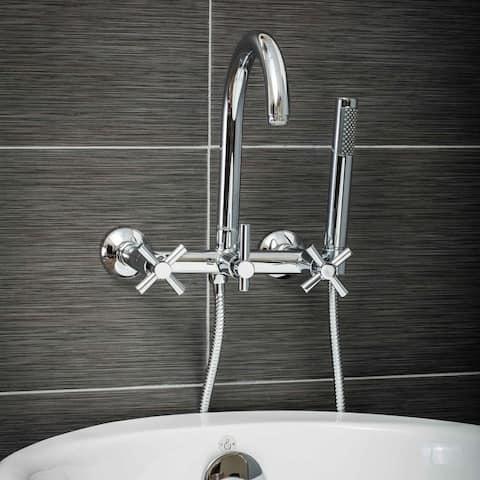 Pelham & White Luxury Tub Filler Faucet, Modern Design, Wall Mount Installation, Cross Handles, Polished Chrome Finish