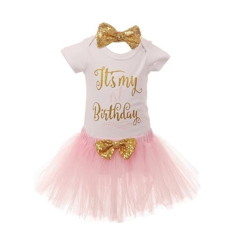 Baby Girls Red Gold Top Tutu Skirt Bow 3 Pc Birthday Set