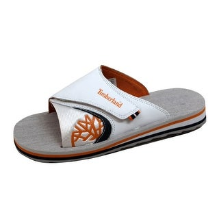 Timberland Grade-School Velcro Flip Flop Slide White 62944