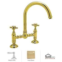 Rohl A1461LM-2 Country Kitchen Bridge Faucet with Metal Lever Handles
