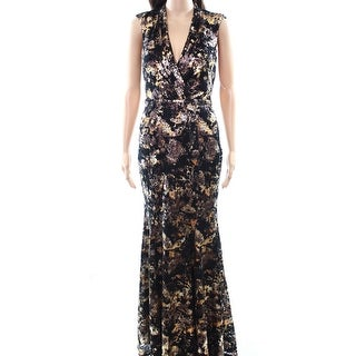 Decode 1.8 Gold Black Womens Size 2 V-Neck Printed Lace Gown Dress