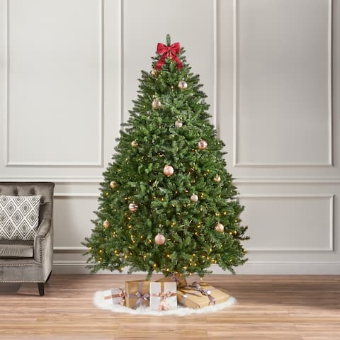 7.5-foot Norway Spruce Pre-Lit Clear LED Hinged Artificial Christmas Tree by Christopher Knight Home