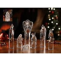 7 Piece Icy Crystal Religious Christmas Nativity Block Figurines 8.75""