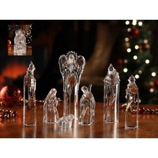 "7 Piece Icy Crystal Religious Christmas Nativity Block Figurines 8.75"""
