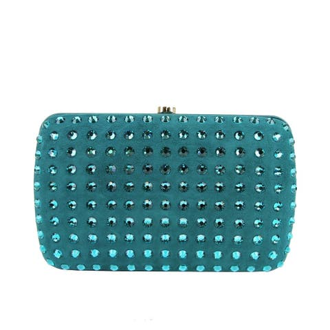 Gucci Women's Turquoise Suede Broadway Crystal Evening Clutch Bag 310005 4460 - One Size